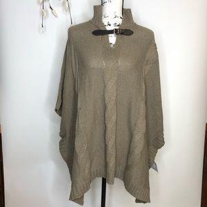 Liz Claiborne Knit Poncho with leather strap s/m